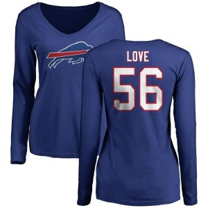 Mike Love Buffalo Bills Women's Royal Pro Line by Branded Name & Number Long Sleeve T-Shirt -