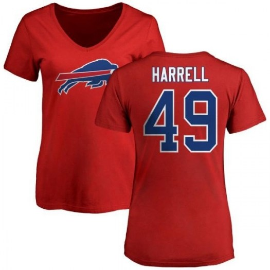 Anthony Harrell Buffalo Bills Women's Red Pro Line Name & Number Logo Slim Fit T-Shirt -